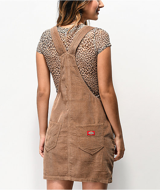 Dickies Button Front Khaki Overall Dress
