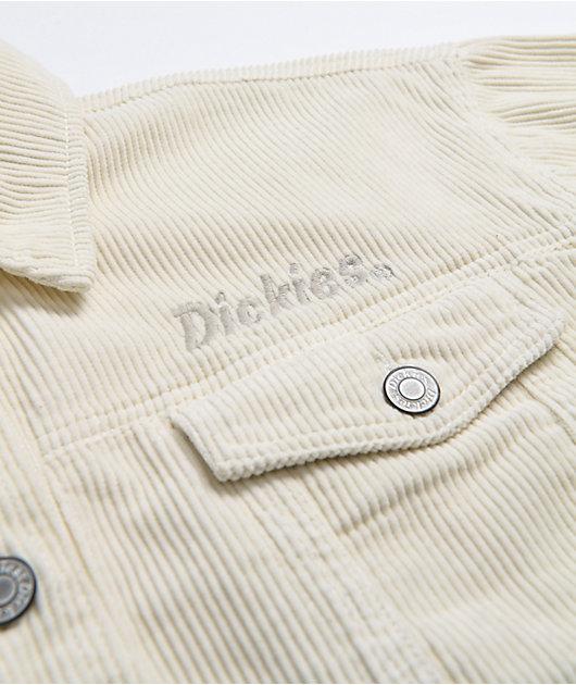 Dickies Corduroy Cream Crop Raw Hem  Jacket
