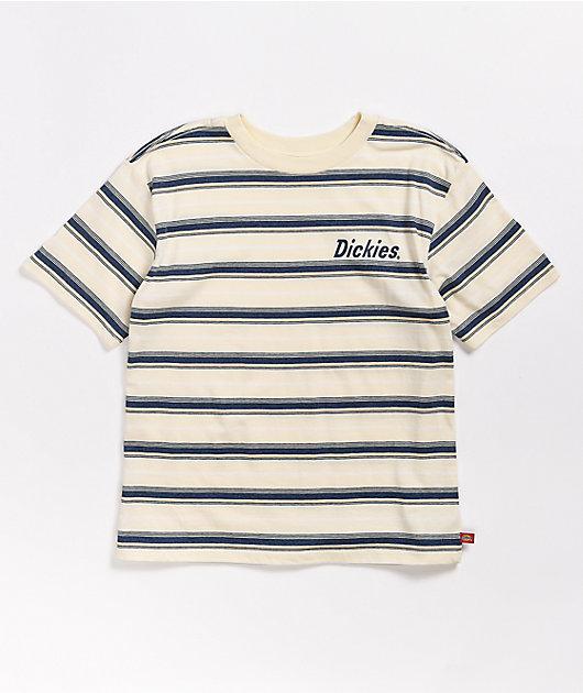 Dickies Cream & Navy Stripe T-Shirt