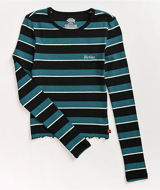 Dickies Deep Sky Stripe Crop Long Sleeve Top