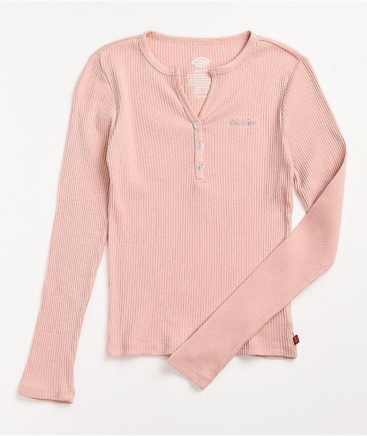 Dickies Dusty Rose Long Sleeve Henley Shirt