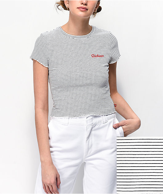 Dickies Embroidered White & Black Stripe Crop T-Shirt