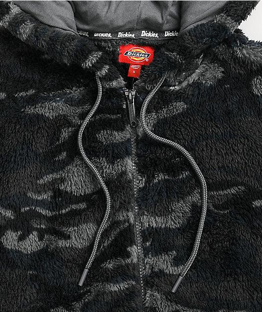 Dickies Midnight Camo Crop Sherpa Tech Fleece Jacket