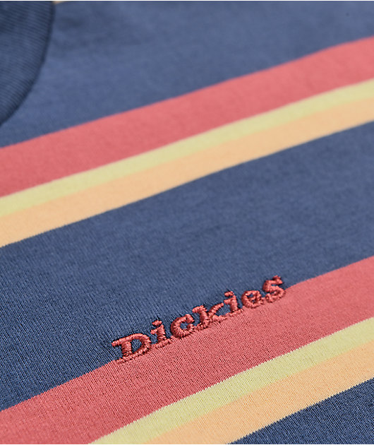 Dickies Navy & Orange Stripe Crop T-Shirt