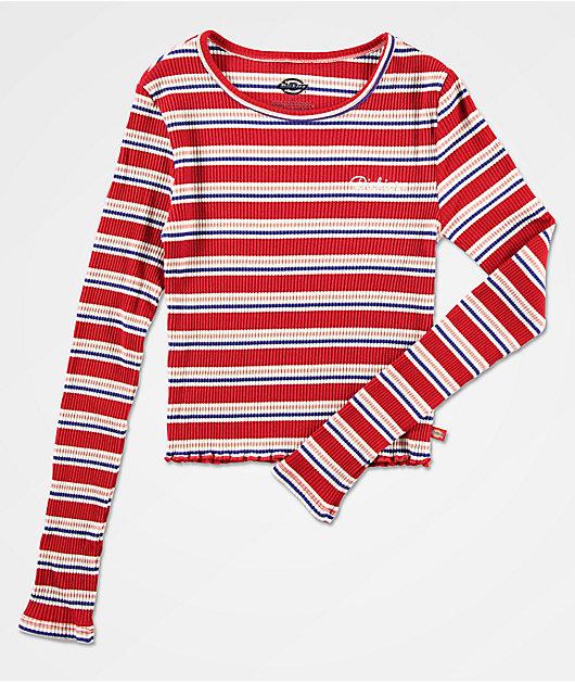 Dickies Red, White & Blue Crop Stripe Long Sleeve Top
