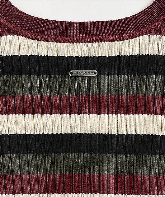 Dickies Rib Multi Stripe Maroon & White Crop Long Sleeve Top