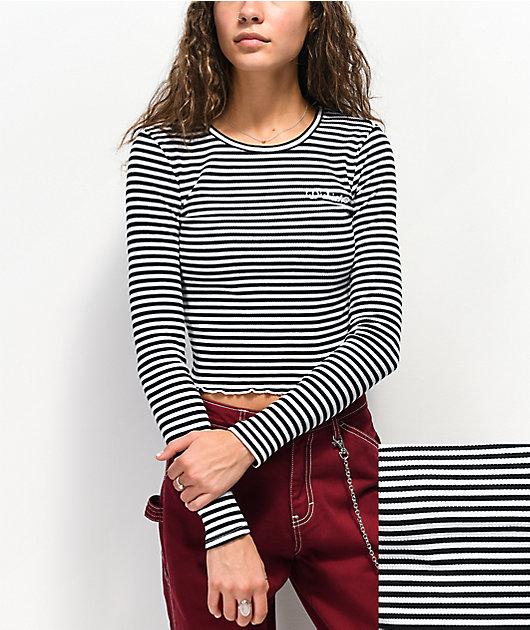 Dickies Rib Stripe Black & White Crop Long Sleeve Top
