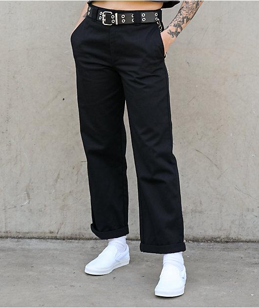 Dickies Roll Hem Belted Black Cropped Work Pants