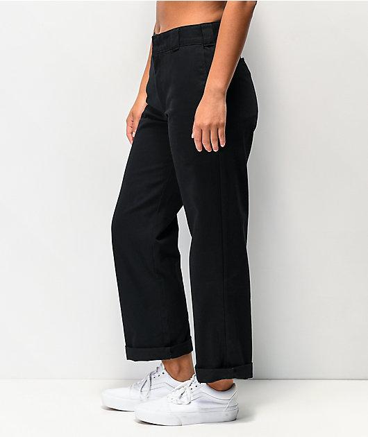Dickies Roll Hem Black Crop Work Pants