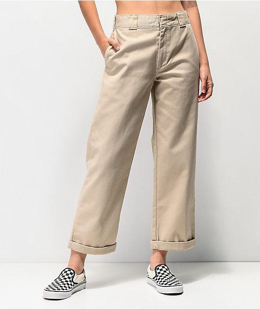 Dickies Roll Hem Khaki Crop Work Pants