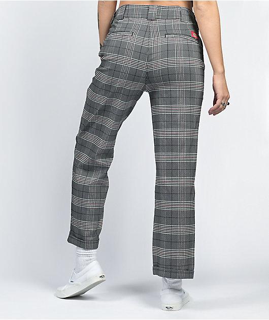 Dickies Roll Hem Plaid Black & Grey Cropped Work Pants