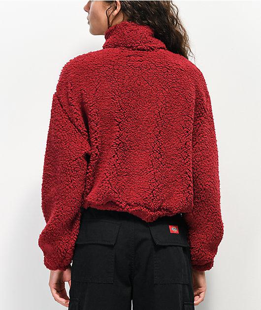 Dickies Sherpa Burgundy Crop Half Zip Fleece Sweatshirt
