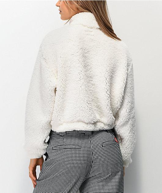 Dickies Sherpa White Crop Half Zip Fleece Sweatshirt
