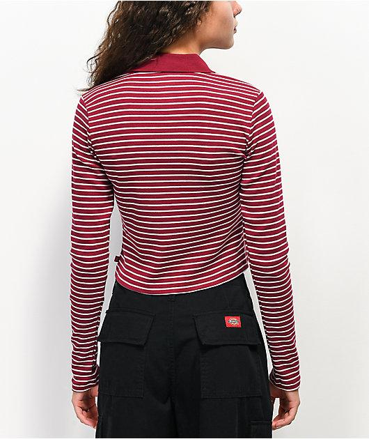 Dickies Stripe Burgundy & White Half Zip Crop Long Sleeve Polo Top