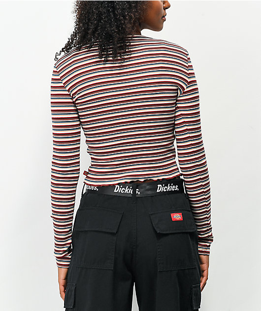 Dickies Tan Stripe Long Sleeve Crop T-Shirt