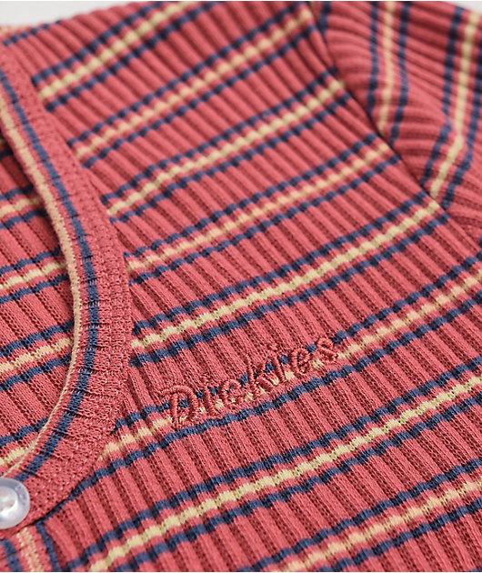Dickies Terracotta Stripe Button-Up Crop Top