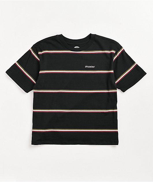 Dickies Tomboy Black & Pink Stripe Crop T-Shirt
