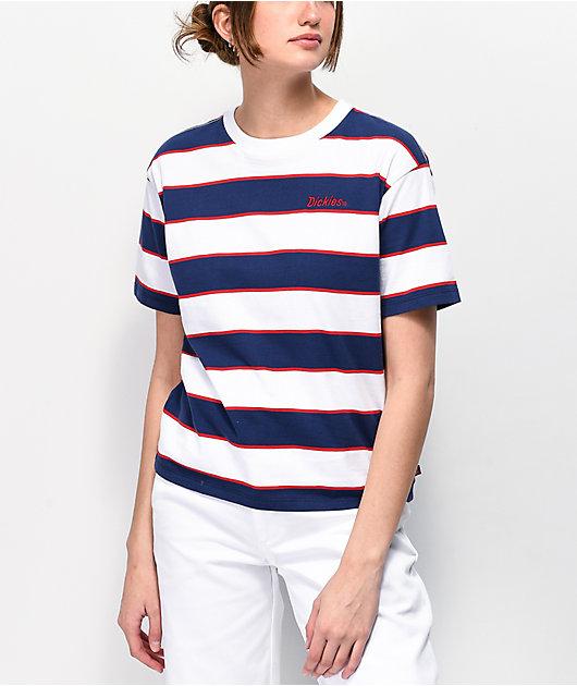 Dickies Tomboy Navy, White & Red Stripe T-Shirt