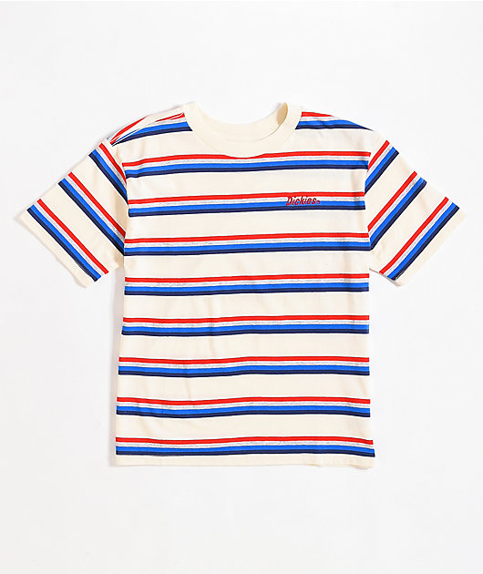 Dickies Tomboy White, Red & Blue Stripe T-Shirt