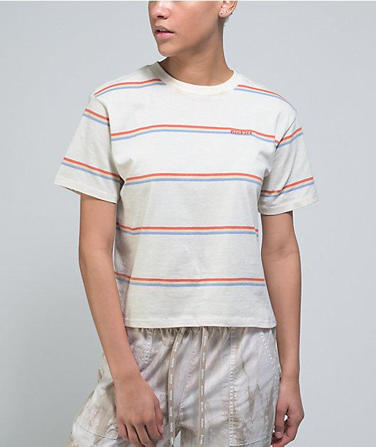 Dickies White, Blue, & Red Stripe Crop T-Shirt