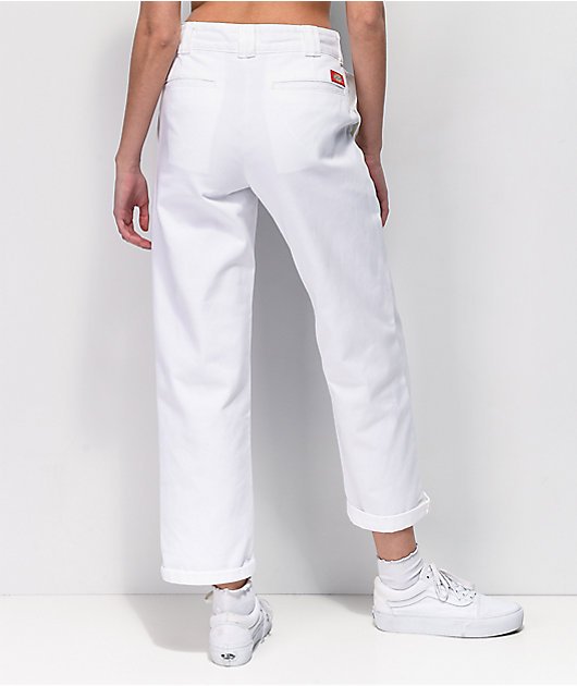 Dickies Worker Crop Rolled Hem White Jeans