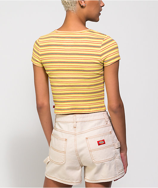 Dickies Yellow Stripe Button Front Crop Top