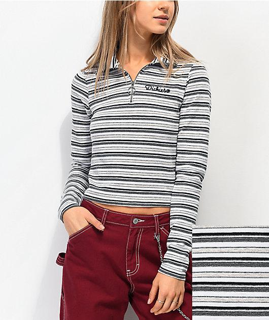 Dickies camiseta de manga larga con media cremallera gris, blanca y negra