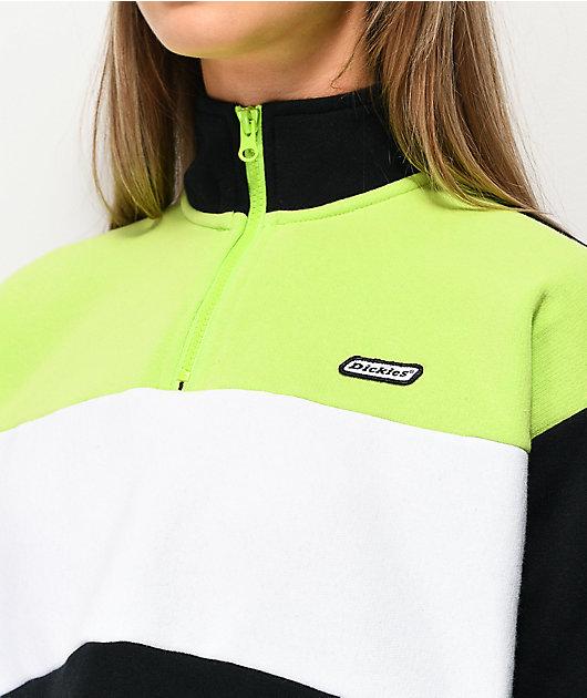 Dickies sudadera corta verde, blanca y negra con cuello simulado