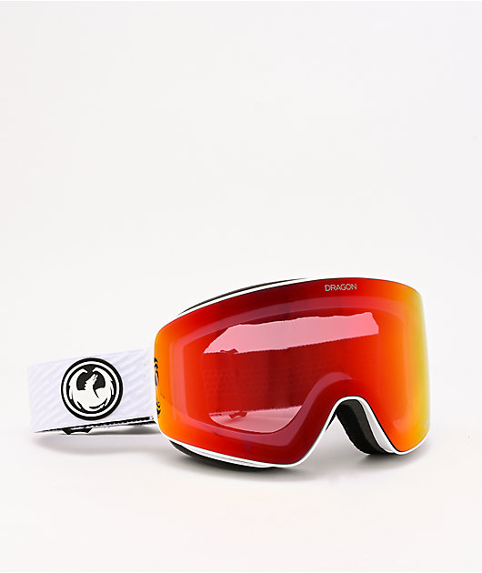 Dragon PXV White & Red Ion Snowboard Goggles