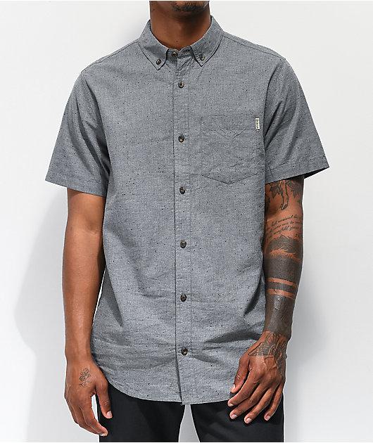 Dravus Alvin Speckled Grey Woven Short Sleeve Button Up Shirt