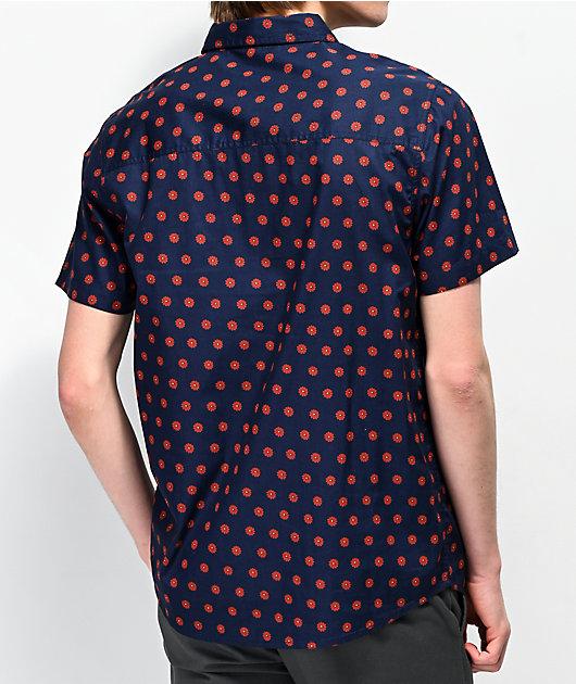 Dravus Daized Navy Woven Short Sleeve Button Up Shirt