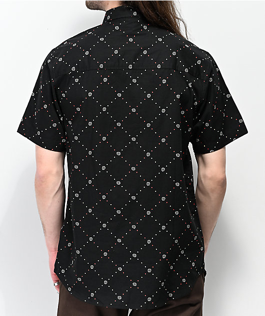 Dravus Foul Black Woven Short Sleeve Button Up Shirt