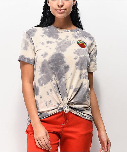 Dravus Joane Outdoorsy Grey Tie Die Knot Front T-Shirt