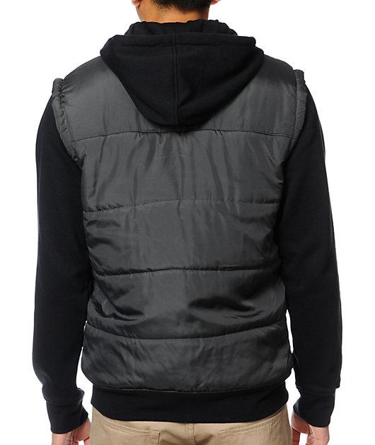 Dravus Plateau Charcoal & Black Hooded Vest Jacket