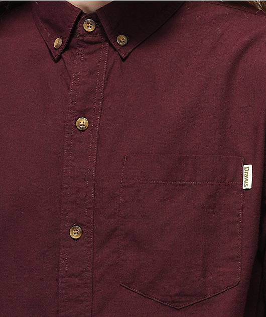 Dravus Robby Dark Red Woven Short Sleeve Button Up Shirt
