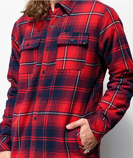 Dravus Sherpa Red & Navy Flannel Shirt