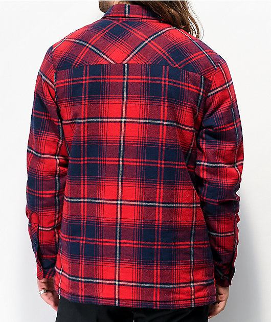 Dravus Sherpa camisa de franela roja y azul marino