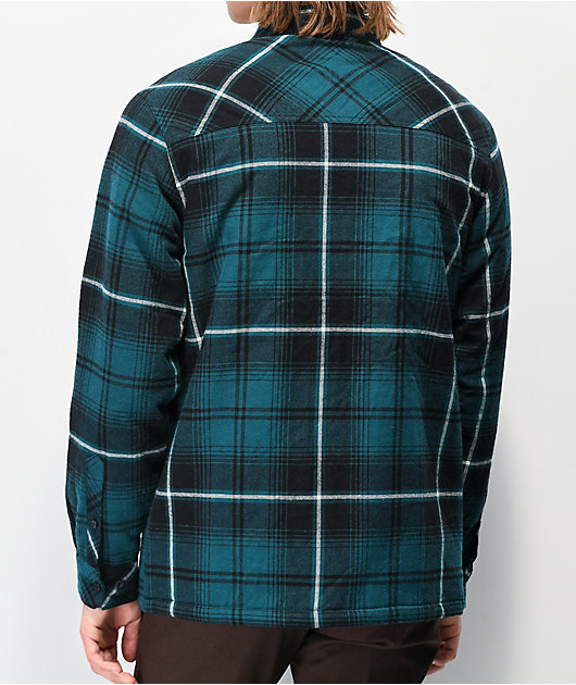 Dravus Teal & Black Sherpa Flannel Shirt