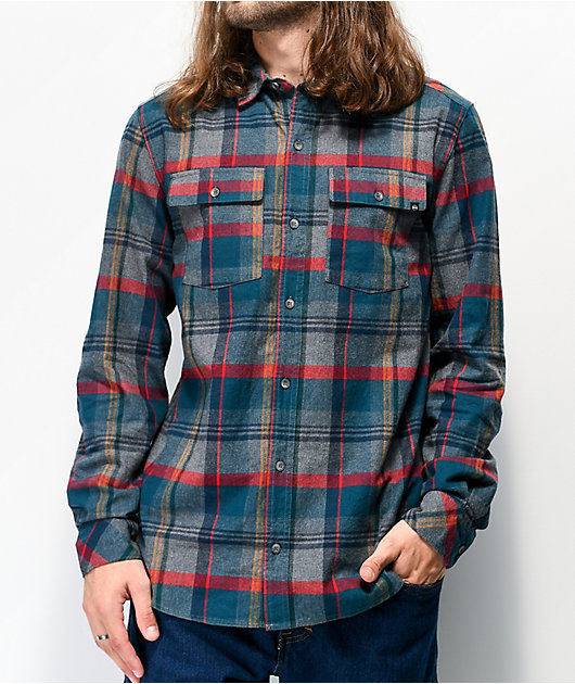 Dravus Travis camisa de franela azul y gris