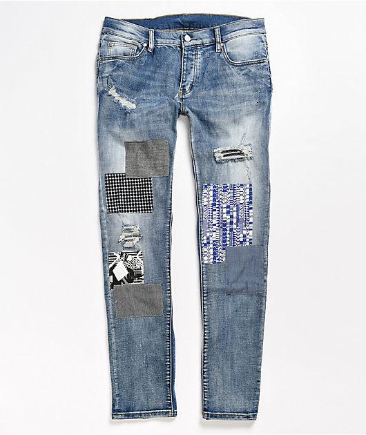 Dript D.104 Dark Blue Patchwork Skinny Jeans