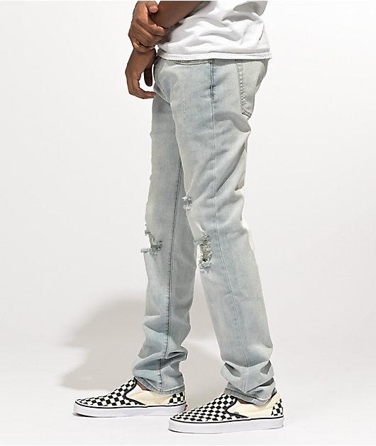 Dript D.211 White Paint Blue Denim Skinny Jeans
