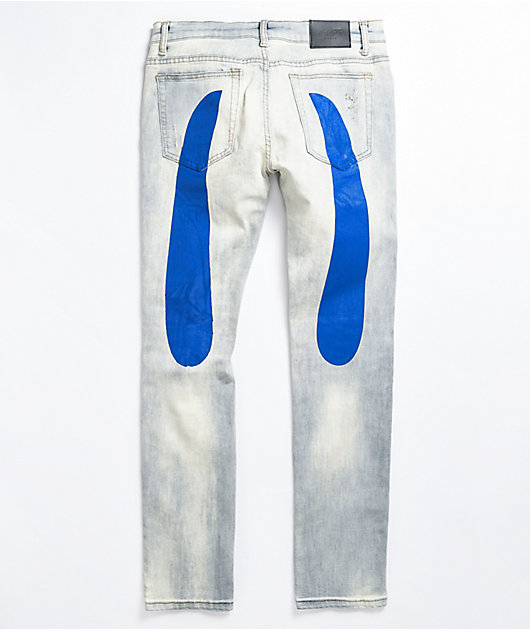 Dript D.212 Blue Painted Light Grey Denim Jeans