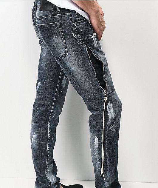 Dript Denim D.044 Side Zip Dark Blue Skinny Jeans