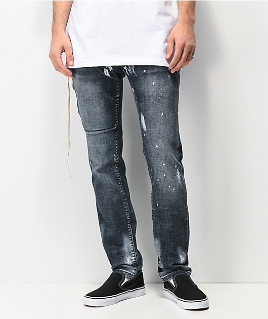 Dript Denim D.044 Side Zip jeans ajustados en azul oscuro