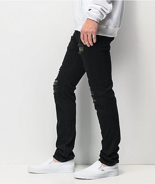 Dript Denim D.072 Rip & Repair Black Skinny Jeans