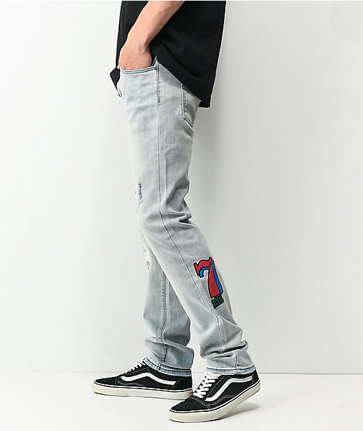 Dript Denim D.1003 Doodle Casino Blue Skinny Jeans