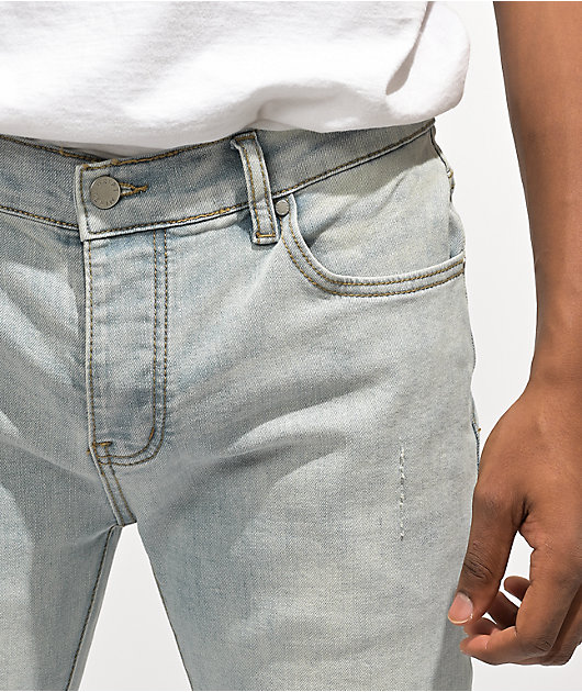 Dript Denim D.211 White Paint Blue Skinny Jeans
