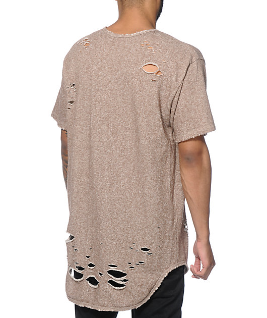 EPTM. Thrashed Elongated French Terry T-Shirt