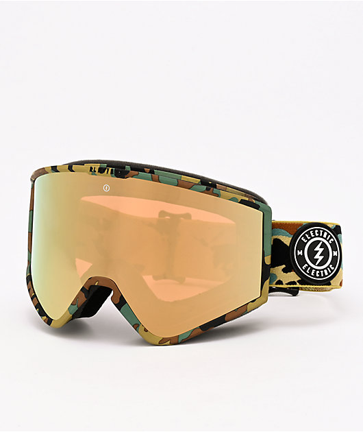 Electric Kleveland Camo & Gold Chrome Snowboard Goggles