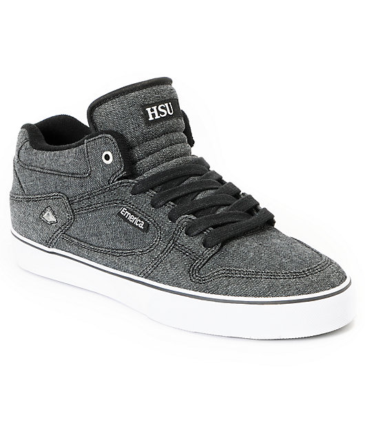 Emerica HSU Black Denim Skate Shoes